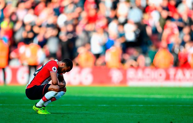 A dejected Nathan Redmond of Southampton. Photo: Getty