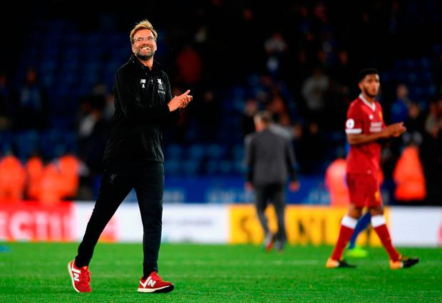 Jurgen Klopp, Manager of Liverpool celebrates victory after the match. Photo: Getty