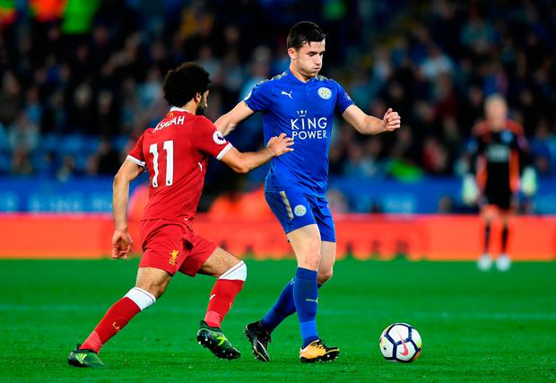 Mohamed Salah of Liverpool puts pressure on Ben Chilwell of Leicester City. Photo: Getty