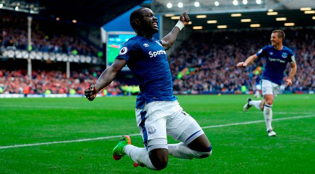 Oumar Niasse of Everton celebrates scoring his side's second goal. Photo: Getty