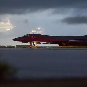 In this image provided by the U.S. Air Force, a U.S. Air Force B-1B Lancer, assigned to the 37th Expeditionary Bomb Squadron, deployed from Ellsworth Air Force Base, S.D., prepares to take off from Andersen AFB, Guam, on Saturday, Sept. 23, 2017. The Pentagon says B-1B bombers from Guam and F-15 fighter escorts from Okinawa, Japan, have flown a mission in international airspace over the waters east of North Korea. The U.S. says it's the farthest north of the Demilitarized Zone that divides the Korean Peninsula that any American fighter or bomber has flown this century.(Staff Sgt. Joshua Smoot/U.S. Air force via AP)