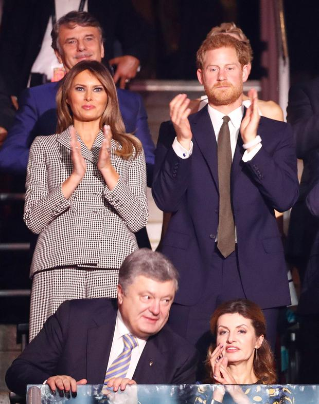 Ukrainian President Petro Poroshenko (first row, L) and his wife Maryna Poroshenko, U.S. first lady Melania Trump (second row, L) and Britain's Prince Harry (second row, second from L), attend during the opening ceremony for the Invictus Games in Toronto, Canada, September 23, 2017. REUTERS/Mark Blinch
