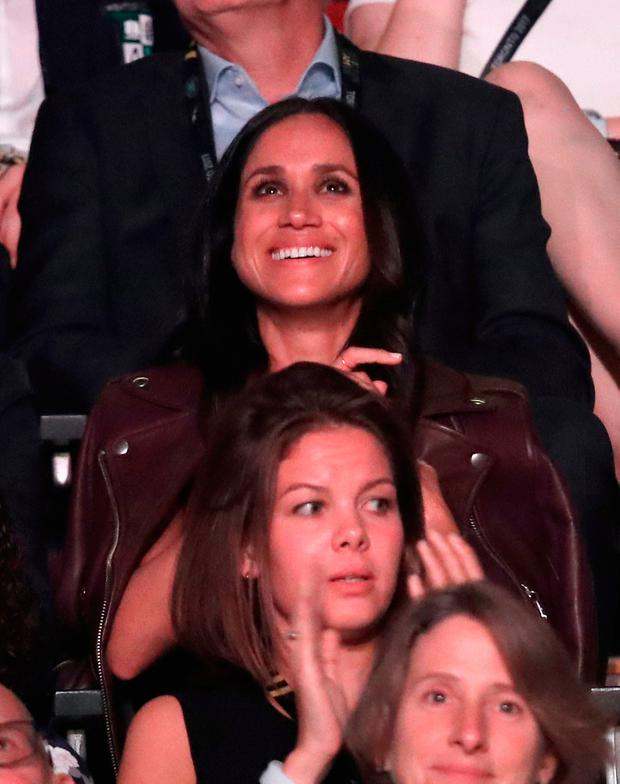 Meghan Markle watches Prince Harry speak during the opening ceremony of the 2017 Invictus Games at Air Canada Centre on September 23, 2017 in Toronto, Canada. (Photo by Chris Jackson/Getty Images )