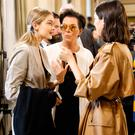 (L-R) Gigi Hadid, Kris Jenner and Kendall Jenner are seen backstage ahead of the Bottega Veneta show during Milan Fashion Week Spring/Summer 2018 on September 23, 2017 in Milan, Italy. (Photo by Tristan Fewings/Getty Images for Bottega Veneta)
