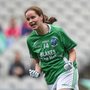 Sharon Murphy of Fermanagh celebrates scoring the game-tying goal from the penalty mark during the TG4 Ladies Football All-Ireland Junior Championship Final match between Derry and Fermanagh at Croke Park in Dublin. Photo by Cody Glenn/Sportsfile