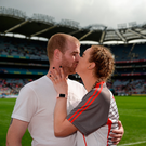 24 September 2017; Derry's Ciara McGurk kisses her boyfriend Ryan McCloskey after he proposed to her following the TG4 Ladies Football All-Ireland Junior Championship Final match between Derry and Fermanagh at Croke Park in Dublin. Photo by Cody Glenn/Sportsfile