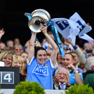 Dublin captain Sinéad Aherne lifts the Brendan Martin Cup after the TG4 Ladies Football All-Ireland Senior Championship Final match between Dublin and Mayo at Croke Park in Dublin. Photo by Brendan Moran/Sportsfile