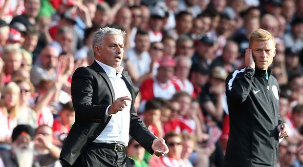 Manager Jose Mourinho of Manchester United shouts instructions from the sidelines during the Premier League match between Southampton and Manchester United at St Mary's Stadium on September 23, 2017 in Southampton, England. (Photo by Matthew Peters/Man Utd via Getty Images)