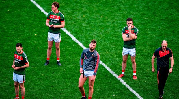 Mayo players (from left) Kevin McLoughlin, Danny Kirby, Aidan O'Shea, David Drake, and physio Martin McIntyre after last Sunday's loss to Dublin. Photo: Daire Brennan/Sportsfile