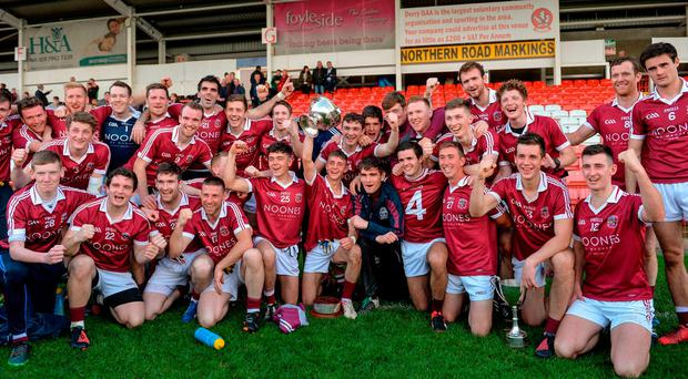 The Slaughtneil players celebrate after their victory over Ballinascreen in the Derry SFC final. Photo: Oliver McVeigh/Sportsfile