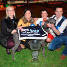 Jenna Boyle of BoyleSports (left) with Good News owners Mary Kennedy and Sandra Guilfoyle and trainer Pat Guilfoyle after the Irish Derby at Shelbourne Park.