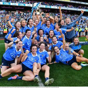 24 September 2017; The Dublin team celebrate with the Brendan Martin Cup after the TG4 Ladies Football All-Ireland Senior Championship Final match between Dublin and Mayo at Croke Park in Dublin. Photo by Brendan Moran/Sportsfile