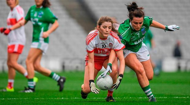 Derry's Jackie Donnelly and Aisling Maguire of Fermanagh battle for the ball. Photo: Brendan Moran/Sportsfile