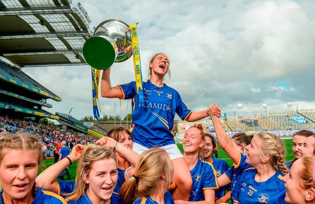 Samantha Lambert of Tipperary celebrates with the cup following the TG4 Ladies Football All-Ireland Intermediate Championship Final match between Tipperary and Tyrone at Croke Park in Dublin. Photo: Cody Glenn/Sportsfile