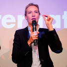AfD co-leader Alice Weidel addresses supporters in Berlin after the first exit polls in the German general election. Photo: Reuters