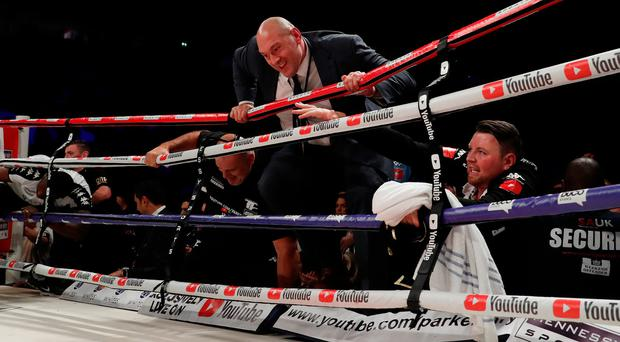 Tyson Fury enters the ring to protest after his cousin Hughie Fury's WBO heavyweight title defeat to Joseph Parker. Photo: Reuters/Andrew Couldridge