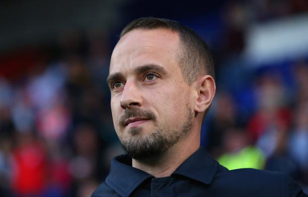 Mark Sampson the manager of England looks on during the FIFA Women's World Cup Qualifier between England and Russia at Prenton Park on September 19, 2017 in Birkenhead, England. (Photo by Alex Livesey/Getty Images)