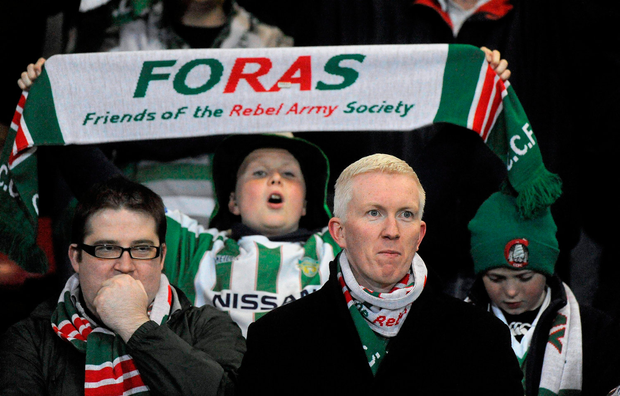 FORAS supporters showing their colours at Turner's Cross. Picture credit: Oliver McVeigh / Sportsfile