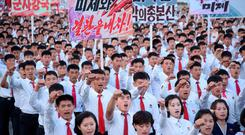 An anti-US rally at Kim Il-sung Square on Saturday, where placards included 'The US is evil's headquarters' and 'Old foe the US'. Photo: Korean Central News Agency (KCNA)