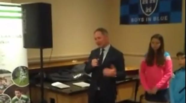 Jim Gavin delivering the speech at Round Towers