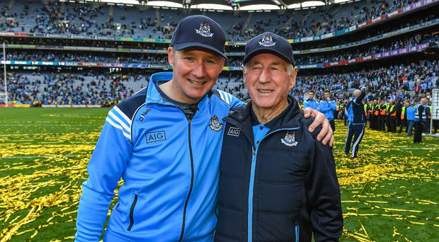 Jim Gavin and his dad Jim celebrate after Dublin sealed their third All-Ireland title in a row