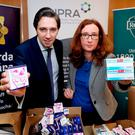 Minister Simon Harris, TD, Minister for Health and Ms Lorraine Nolan, Chief Executive, HPRA at today's announcement