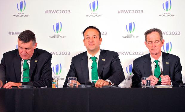 IRFU Chief Executive Philip Brown,Taoiseach, Leo Varadkar and Dick Spring Chairman, Ireland 2023 Oversight Board, during the 2023 Rugby World Cup host candidates presentations at the Royal Garden Hotel in London, where they are bidding to host the event against France and South Africa.
