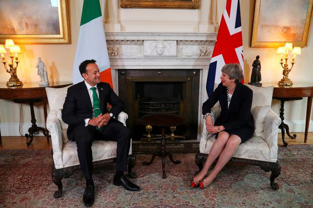 Prime Minister Theresa May and Irish Taoiseach Leo Varadkar during a bilateral meeting in Downing Street, London. Photo: Hannah McKay/PA Wire