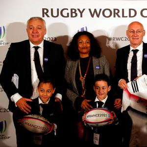 Members of The French 2023 bid team pose for a photograph (L-R) Claude Atcher, Director, French Bid for World Cup 2023, Laura Flessel, Minister for Sport, Bernard Laporte, President of the French Rugby Federation and Sebastien Chabal, #France2023 Leader and Bid Ambassador. Pictured with Brayley and Dhyreille Lomu, children of Jonah Lomu Action Images via Reuters/Paul Childs