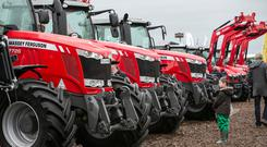 A young farmer checking out some new tractors at the Ploughing Championships in Screggan Co Offaly
