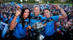 St Sylvesters Trio Niamh McEvoy, Nicole Owens and Sinead Aherne part of the Dublin Senior Ladies GAA Team are welcomed back to Malahide at their homecoming with the team and the Brendan Martin Cup at the Bridgefield pitches. Pic Steve Humphreys 25th September 2017
