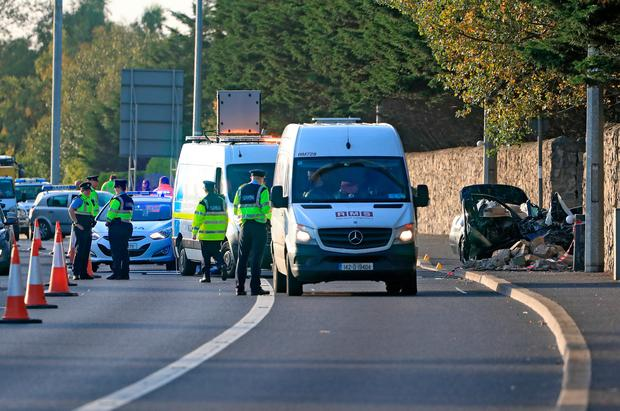 The scene of a serious road traffic collision on the N4 close to the Lucan exit Eastbound Photo: Colin Keegan, Collins Dublin.
