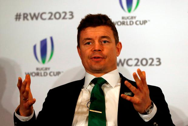 Ireland's bid ambassador Brian O'Driscoll at yesterday's press conference in London. Photo: Reuters/Paul Childs