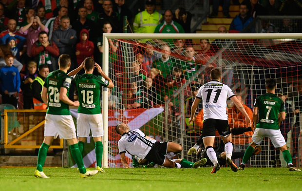 25 September 2017; Robbie Benson of Dundalk scores his side's goal during the SSE Airtricity Premier Division match between Cork City and Dundalk at Turners Cross in Cork. Photo by Stephen McCarthy/Sportsfile