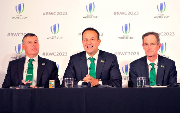 Left to right: IRFU Chief Executive Philip Brown, Taoiseach Leo Varadkar and Dick Spring Chairman of Ireland 2023 Oversight Board, during the 2023 Rugby World Cup host candidates presentations at the Royal Garden Hotel in London. Photo: Nick Ansell/PA Wire