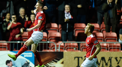 Ian Bermingham leaps in celebration after scoring St Patrick's Athletic's first goal. Photo: Sportsfile