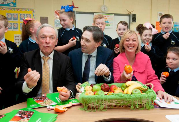 Ministers Richard Bruton, Simon Harris and Regina Doherty at the launch of the Nutrition Standards for the School Meals Programme. Photo: Gareth Chaney