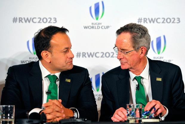 Taoiseach Leo Varadkar (left) and Dick Spring Chairman, Ireland 2023 Oversight Board, during the 2023 Rugby World Cup host candidates presentations at the Royal Garden Hotel in London. Photo: Nick Ansell/PA Wire