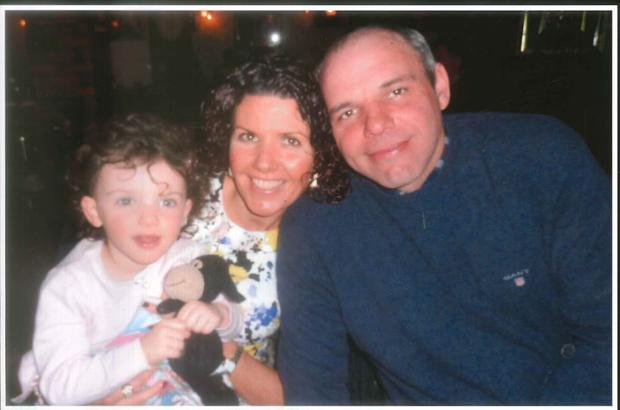 Madison pictured with her parents and Baa Baa