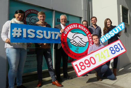Members of the ISSU and SIPTU at the launch of the new helpline for second-level school students