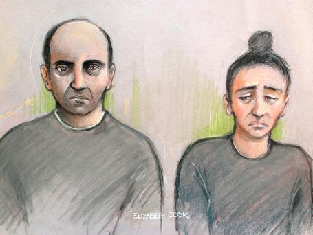 Court artist sketch by Elizabeth Cook of Ouissem Medouni (left), 40, and his partner Sabrina Kouider, 34, appearing at the Old Bailey in London, where they are accused of murder following the discovery of charred human remains in a garden in Southfields.
