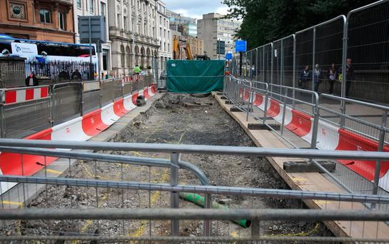 The changes include a ban on private cars taking a right-hand turn onto O'Connell Bridge, and were brought into force to accommodate Luas Cross City, which opens later this year. Photo: Gareth Chaney, Collins