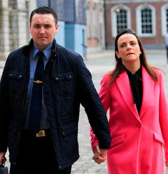 Garda Keith Harrison and his partner Marisa Simms at the Disclosures Tribunal at Dublin Castle yesterday. Photo: Gareth Chaney/Collins