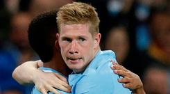 De Bruyne: On target. Photo: Reuters