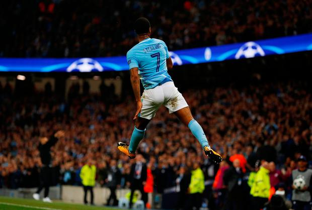 Manchester City's Raheem Sterling celebrates scoring their second goal. Photo: Reuters