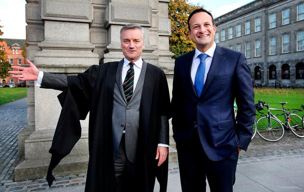 Trinity Provost Dr. Patrick Prendergast and Taoiseach Leo Varadkar celebrating the 425th Anniversary of the Trinity College while attending a special commemorative symposium evening there. Photo: Steve Humphreys