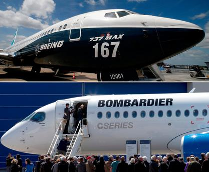 A combination photo of a Boeing 737 MAX Before the opening of the 52nd Paris Air Show at Le Bourget airport near Paris, France, and shareholders line up to view Bombardier's CS300 aircraft following their annual general meeting in Mirabel, Quebec, Canada. REUTERS/Pascal Rossignol/Christinne Muschi/File Photo