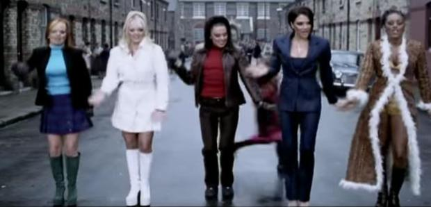 The Spice Girls in the video for Stop which was filmed on Carnew Street in Dublin's Stoneybatter