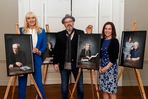 Novartis unveiled 'See The Whole Picture', a special collection of portraits by renowned photographer Barry McCall, at the National Gallery of Ireland's Georgian Rooms marking the beginning of AMD Awareness Week, 25th - 30th September. The striking portraits illustrate how an individual's vision can become distorted by AMD and hope to serve as a reminder to all to have their eyes tested for AMD regularly. Pictured at the launch (L to R) Miriam O'Callaghan, Barry McCall and Loretto Callaghan, Managing Director, Novartis. Picture Andres Poveda
