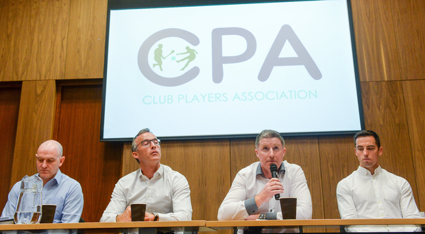 In attendance are CPA executive members, from left, Michael Higgins, National Registration Coordinator, Anthony Moyles, Treasurer, Michéal Briody, Chairman, and Aaron Kernan, Grassroots Coordinator, during a Club Players Association Press Conference as the CPA unveil a national fixture plan and call out for the GAA to set April aside for club activity only. Campus Conference Centre, National Sports Campus, Abbotstown, in Dublin. Photo by Piaras Ó Mídheach/Sportsfile